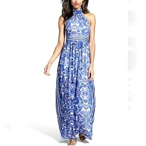 ELIZA J. Blue Paisley Print Halter Maxi Dress